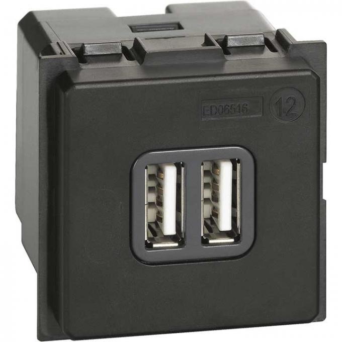 K4285C2 Caricatore doppio USB tipo A living now nero bticino