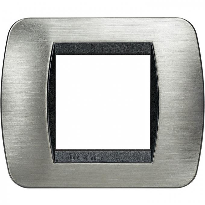 L4802ACS living international btivcino placca 2 posti acciaio spazzolato