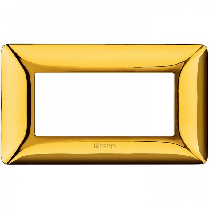 AM4804GOR matix bticino placca 4 poli oro lucido