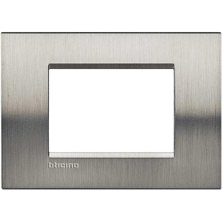 Bticino living international lna4803acs placca in metallo colore acciaio inox 3 posti - Placche living international ...
