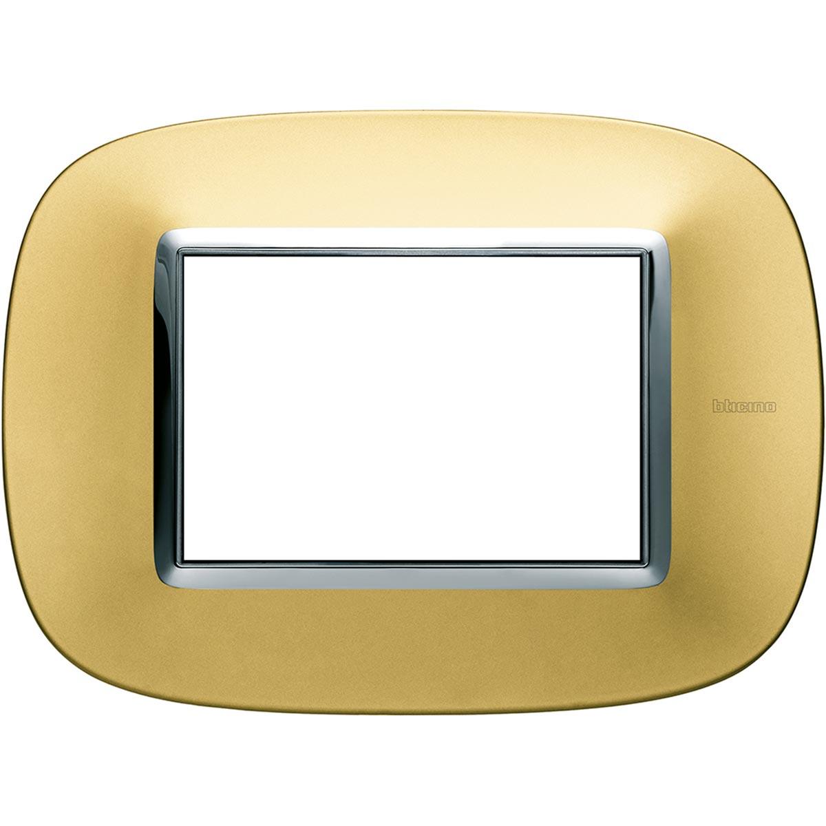 HB4803OS axolute bticino placche oro satinato 3 posti