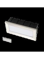 Lampo sprledgbn segnapasso led rettangolare da incasso con cassaforma 3,5w acciaio inox