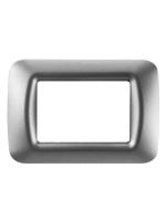GW22603 Placca top Gewiss system titanio metallizzata 3 posti